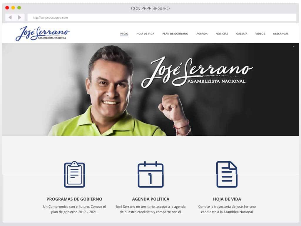Diseño de página web José Serrano, Asambleísta Ecuador