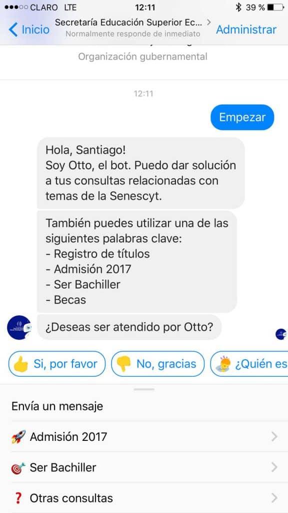Otto, el chatbot de Senescyt
