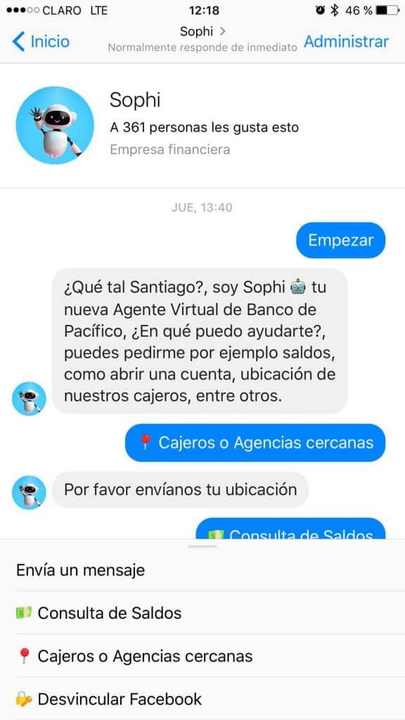 Sophi, el chatbot del Banco del Pacífico