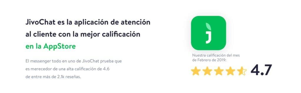 JivoChat calificación en el AppStore de 4.7